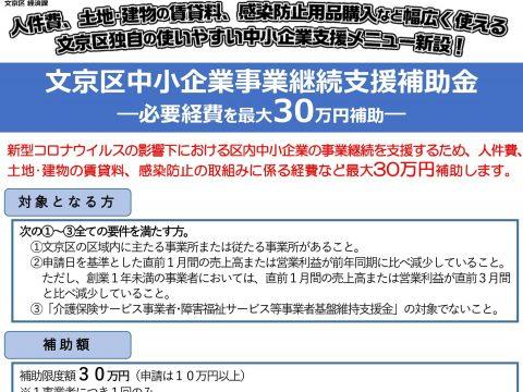 「文京区中小企業事業継続支援補助金」が創設されました